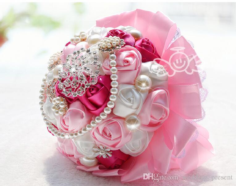 Luxury Crystals Pearls Brooches Bridal Wedding Bouquets Pink Rose Lace Diamond Bride Holding Wedding Bouquet Flowers Favors