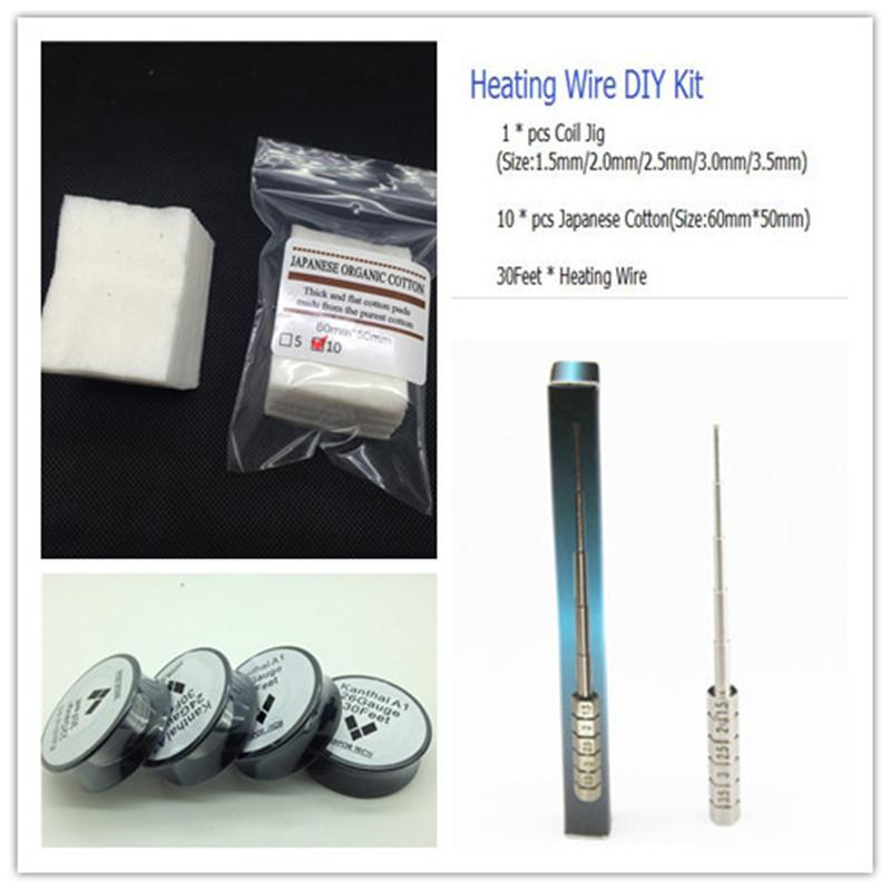 Wholesale- 30feet 0.32mm Heating wire +Coil Jig +10pcs Japanese Cotton Rebuildable DIY Tools Kit For Electronic cigarette RBA RDA Atomizers