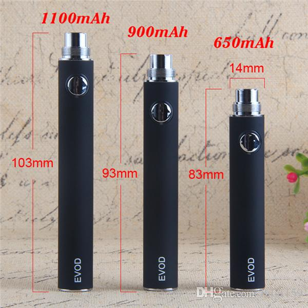 EVOD Vaporizer Battery 1100 900 650mAh Electronic Cigarette 510 eGo Thread Vape Pen & USB Charger fit E-Cig eGo-T MT3 CE4 1:1 Clone Kanger