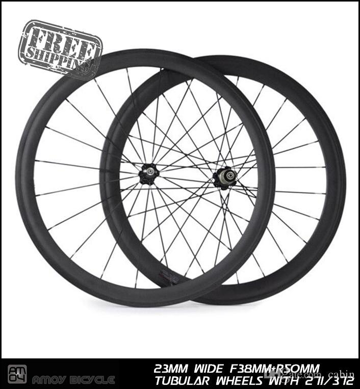 0e341b7a08d 38+50 Tubular Carbon Wheels 23mm Wide Front 38mm Rear 50mm with ...