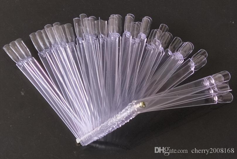 50 stücke transparent klare falsche nail art tipps stick display praxis fanplatte gefälschte nagelwerkzeuge eingestellt