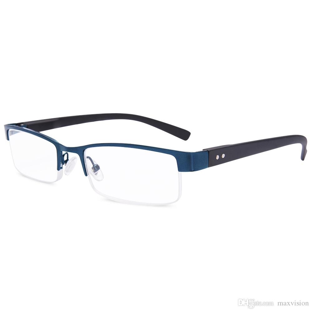 d89a15b0dd8 Readers Reading Glasses Metal High Deluxe Rectangular Half Frame Business  Men Blue Reading Glasses Buy Online Reading Glasses Discount From  Maxvision