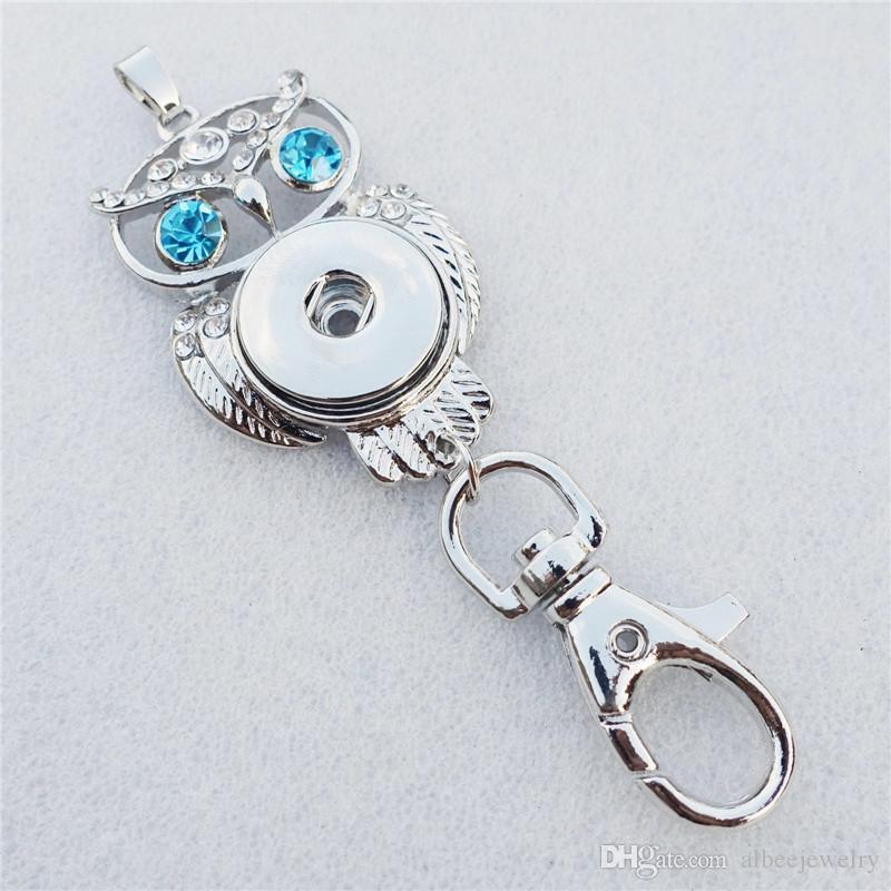 Fashion Rhinestone Owl Key Chains Noosa Chunks Metal Ginger 18mm Snap Buttons Pendant Keyring 3*9.4 cm Jewelry
