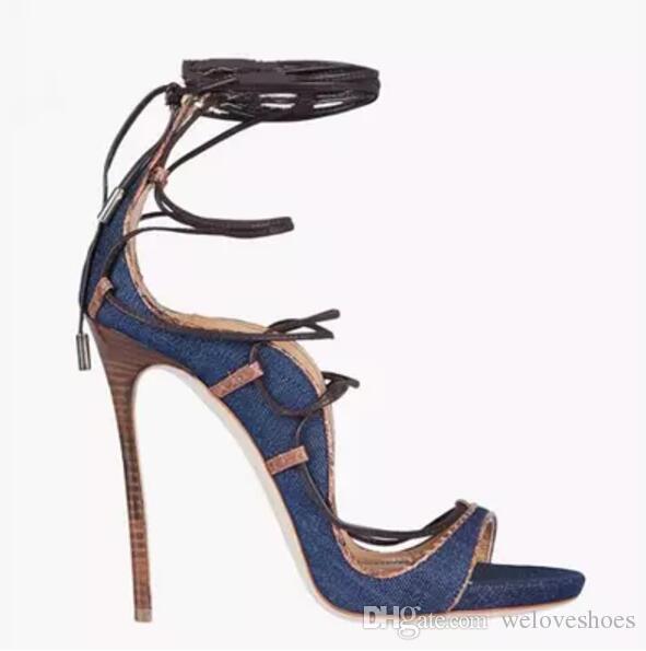Soirée Sandales Toe Mince Talon 2017 Mode Lace Hauts Femmes De Habillées Chaussures Talons Denim Up Peep 6Y7yvbfg