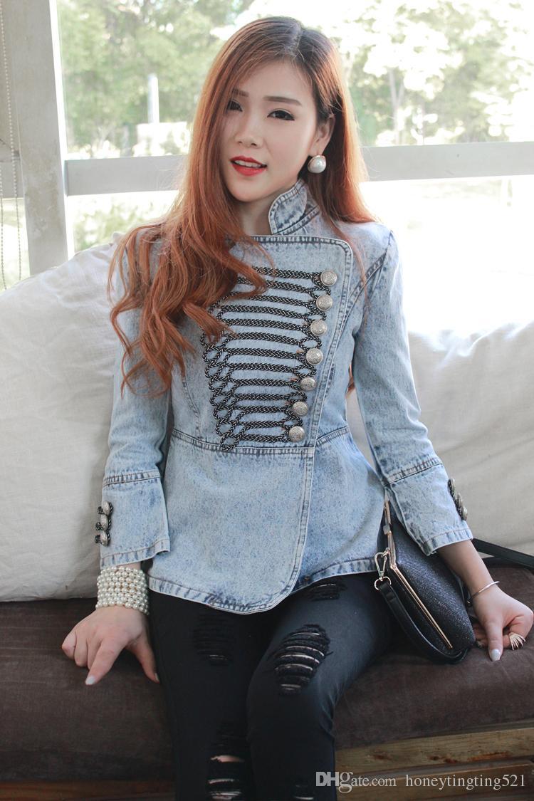2017 design europeu moda estilo real das mulheres de lavagem com água suporte gola botões patchwork denim jeans cintura fina casaco de ombros jaqueta de ombro