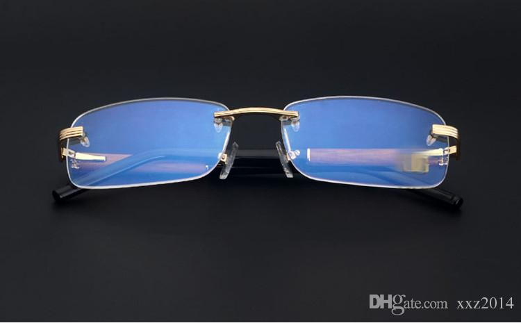 designer High-grade hua limu+metal+pure-plank noble golden glass frame rimless superweight male busineses style prescription glasses