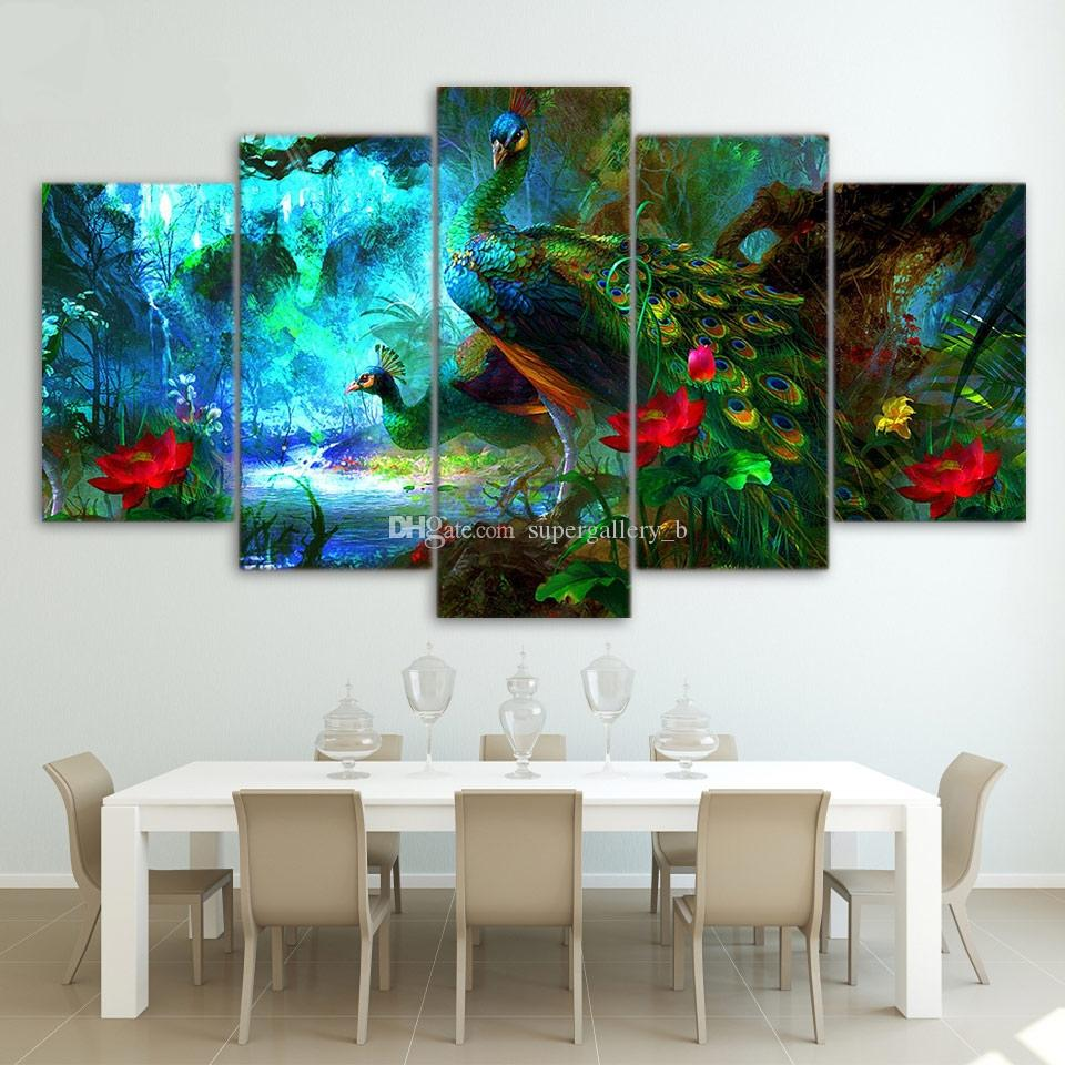 bd08bb66be5 2019 Framed 5Panel Peacock Animal Picture HD Printed On High Quality Canvas