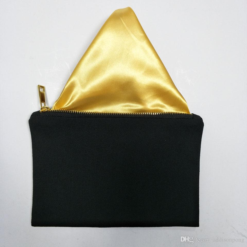 black color 12oz thick and durable canvas makeup bag with gold zip gold lining 6*9in black canvas cosmetic bag free ship custom color