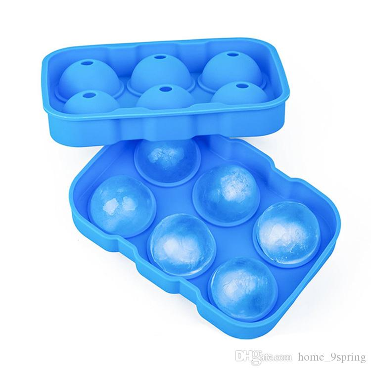 Whiskey Cocktail Ice Cube Ball Food Grade Silicone Spherical Round Ice Cube Tray 6 Large Sphere Ice Mold Maker Home Bar Utensils