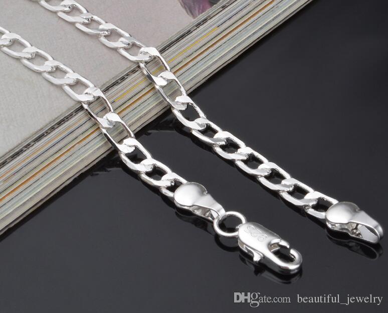 16-30 polegadas Sideways Colar de Prata Esterlina 925 banhado a moda muito bonito 4 MM cadeia homens estilo colar pode caber pingente de jóias