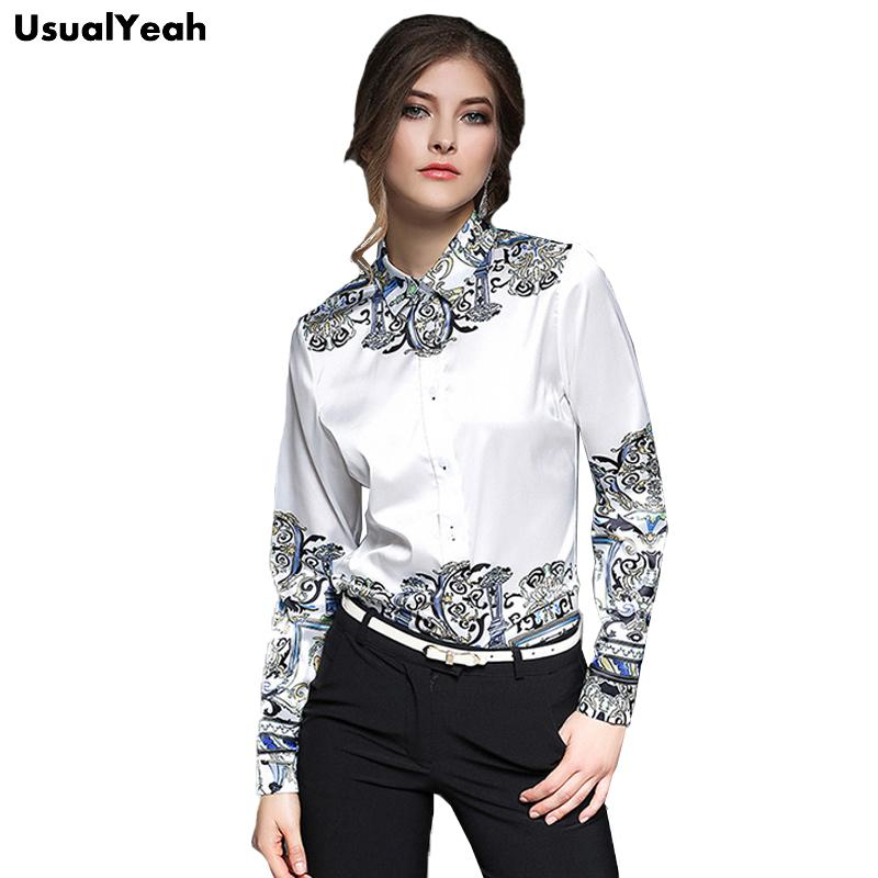 bc407fbc3e2d6 USUALYEAH 2017 Women Fashion Blouse Long Sleeve Baroque Pattern Work ...