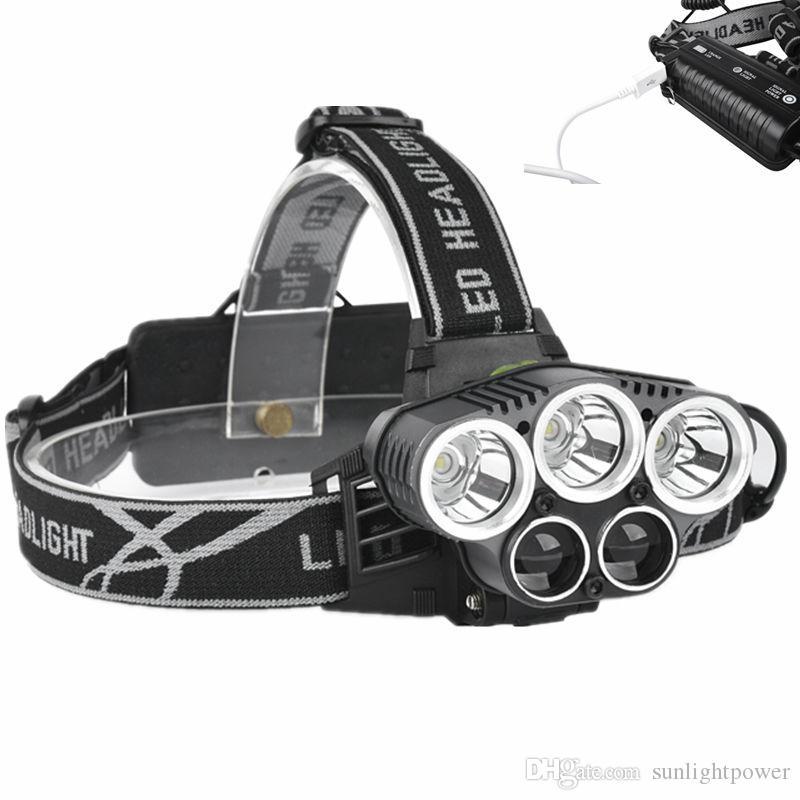 Phare LED 5 CREE XM-L T6 Q5 phare 15000 lumens LED Phare USB Camp Hike Urgence Lumière Pêche En Plein Air