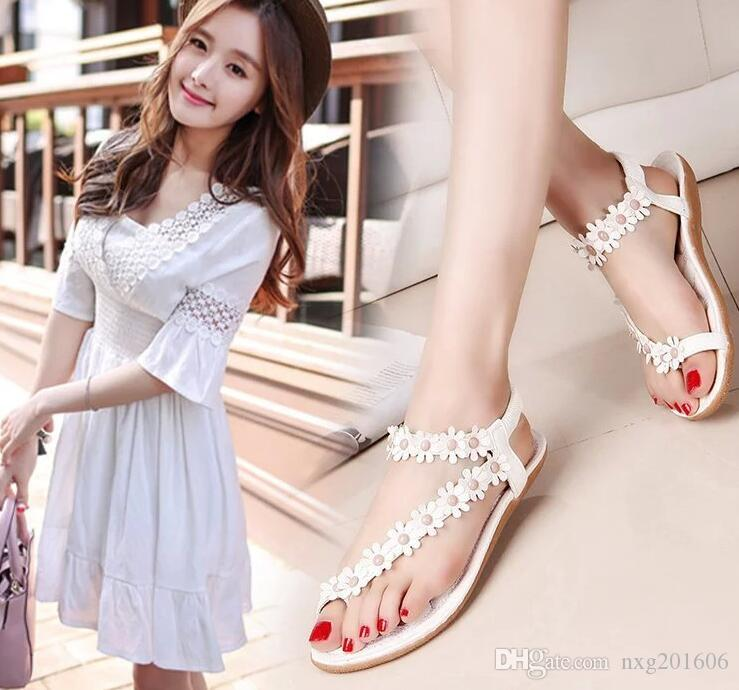 2507565687d63 Bohemia Summer Sandal Shoes New Flowers in Rome Clip Toe Pinch Flat ...