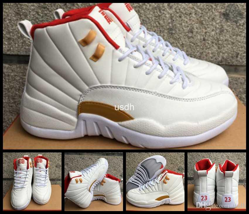 b8d3e36cfe796e 2017 Retro 12 Chinese New Year GS 12s CNY Basketball Shoes For Men White  Red Gold Suede Retros XII Mens Sports Sneakers 8 13 Sports Shoes Basketball  From ...