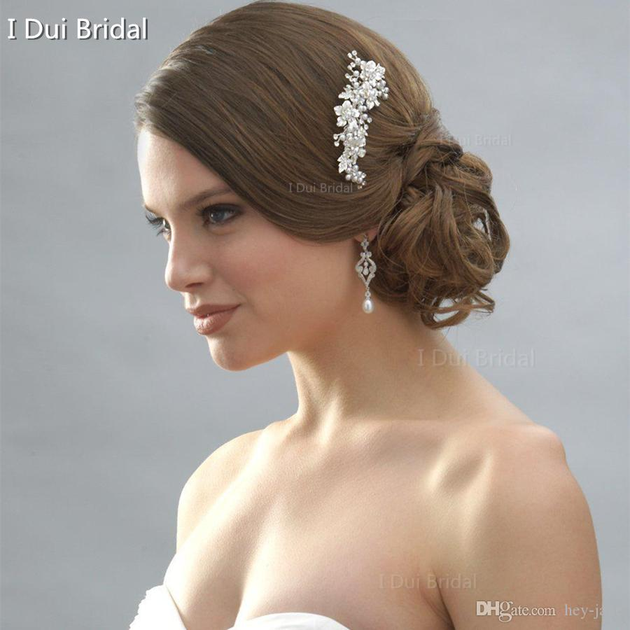 2020 gratis frakt varm sälja högkvalitativt bröllop kristall flexibel hårtillbehör blommig sydney brudkam