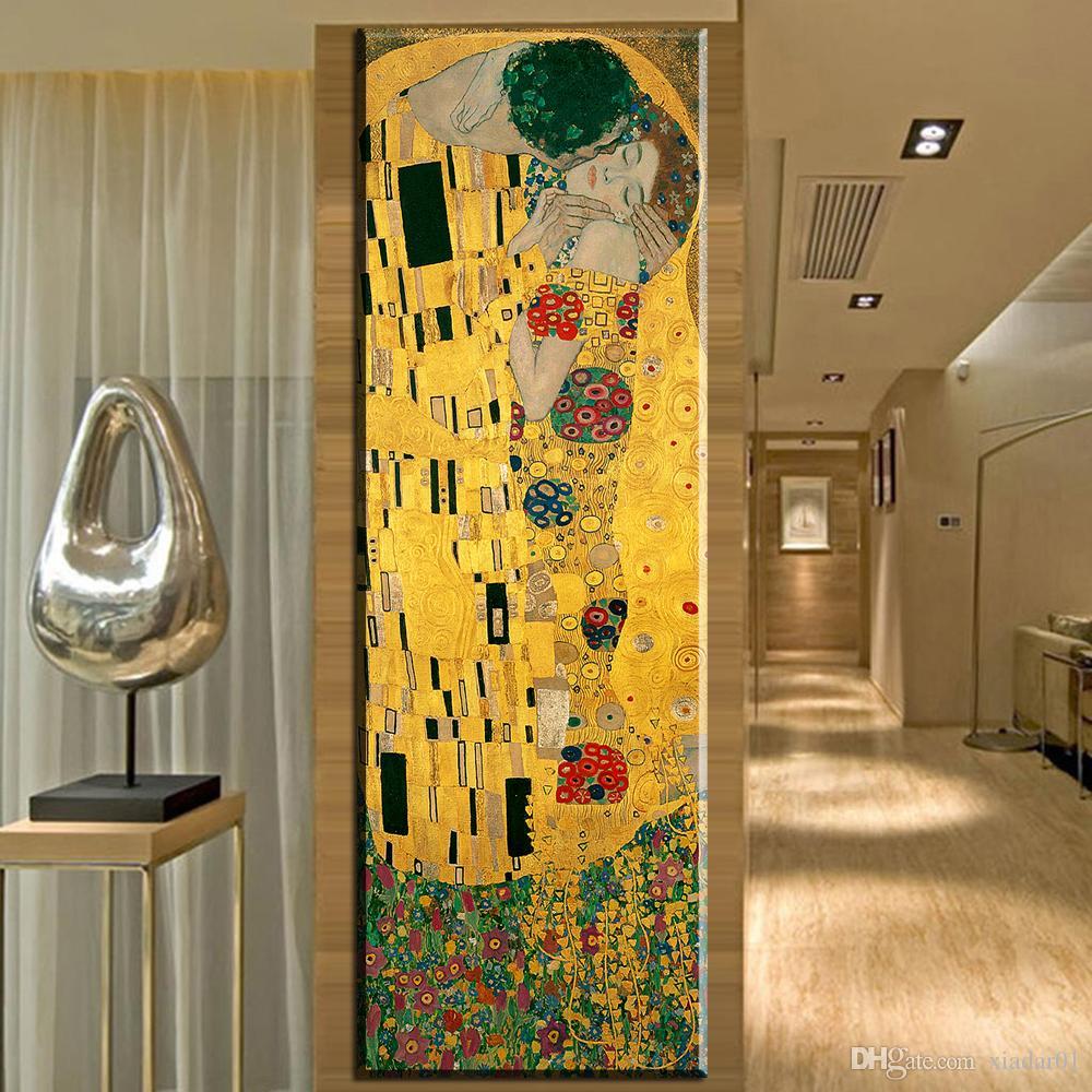 Großhandel Zz1620 Moderne Abstrakte Gustav Klimt Kuss Malerei Bild ...
