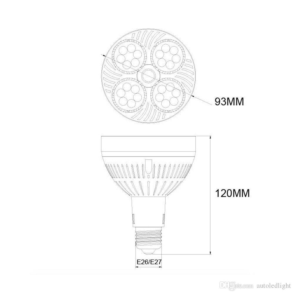 35W PAR30 LED blanco de ángulo estrecho bulbo del proyector de E27 proyecto de la luz con lente Flood par blanca cálida luz blanca