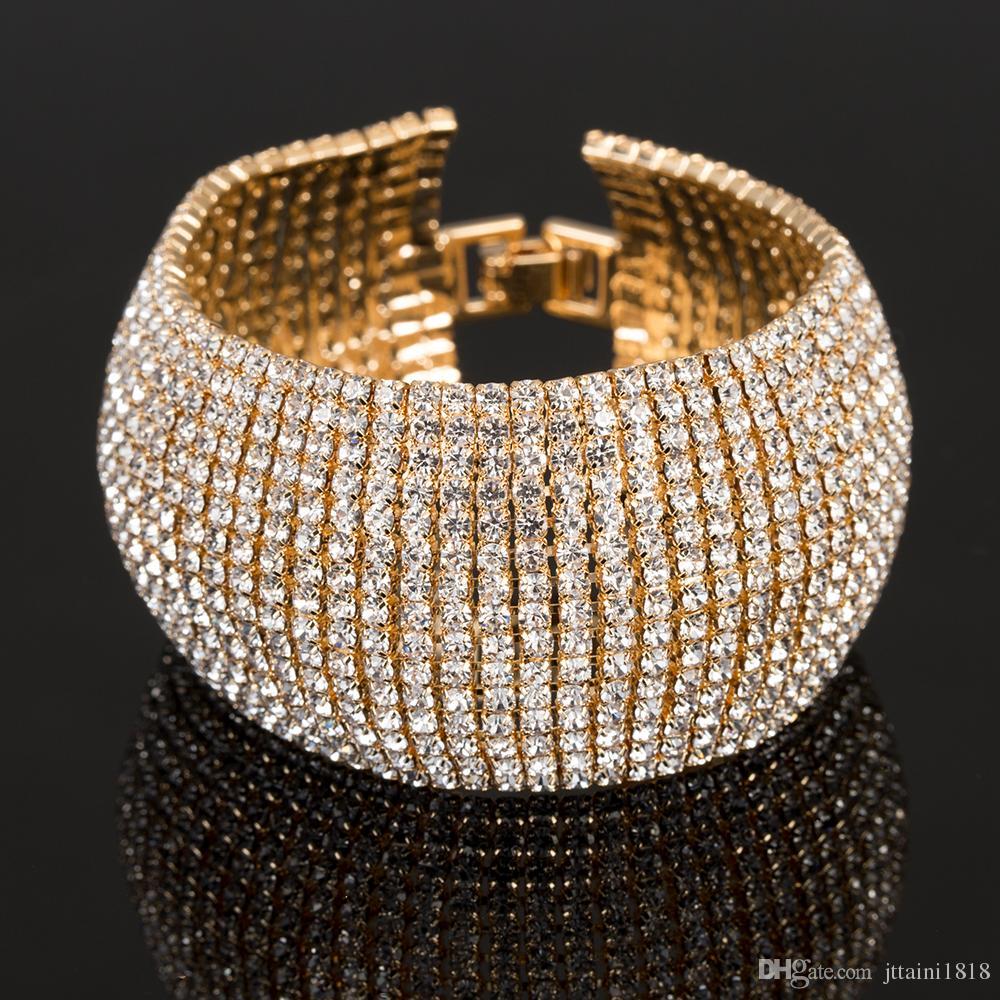 YFJEWE мода полный горный хрусталь ювелирные изделия для женщин роскошный классический Кристалл проложить ссылку браслет Браслет свадебные аксессуары B122