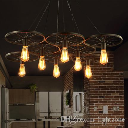 Pendant Lights Creative Wheel Chandelier Lamps Personalized American  European Industrial Vintage Chandeliers Cloth Store Cafe Club Bar Ceiling  Light Shades ...