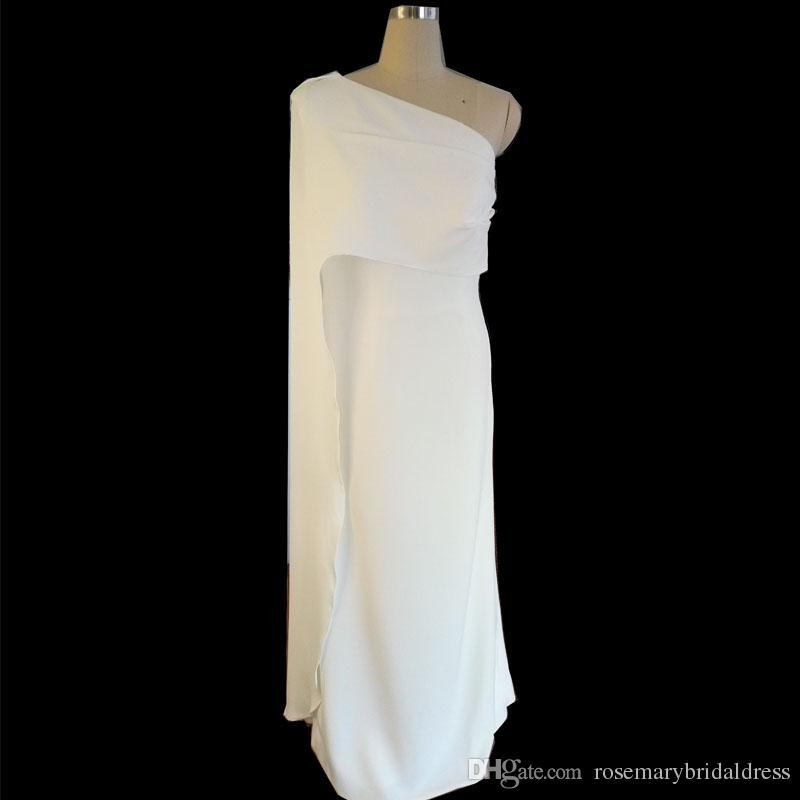 2584ba2eb581a White Long elegant Indian Prom Dresses One shoulder Simple Evening Dresses  Fashion Sleeve Women Formal Gowns