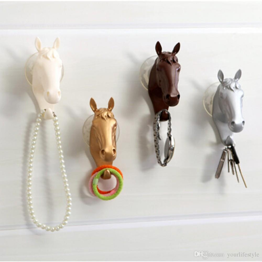 Vintage Decorative Wall Hook for Home Furnishing Modern Small Horse Hooks Resin Wall Jewelry Keys Hangers Rack Creative