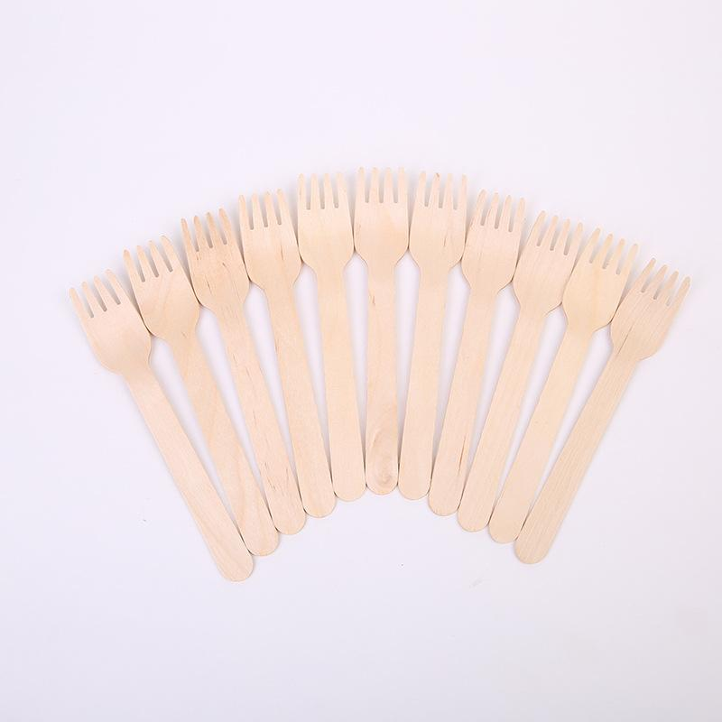 Economical Wooden Spoon Fork Knife Western Disposable Spoons Tableware Kitchen Accessories For Dish Cake