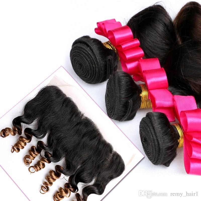 느슨한 웨이브 페루 옹 브르 인간의 머리카락 묶음과 정면 # 1B / 4 / 27 허니 블론드 옹 브르는 와 13x4 레이스 정면 폐쇄