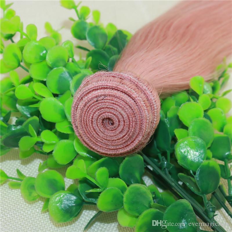 Pacotes Cabelo Remy-de-rosa Hetero Hot Pink Cabelo Weave extensões colorido Humanos Rose Gold Brasileiro para o verão Atacado