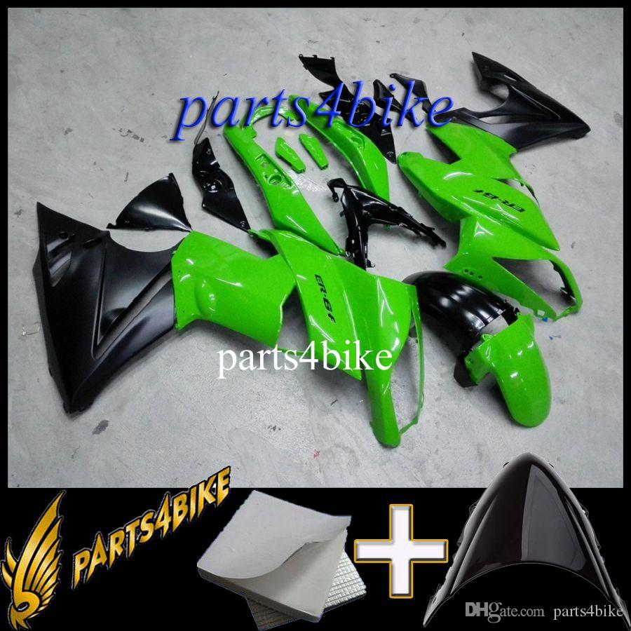 ABS Fairing for Kawasaki ER6 09 ER 6 2009 green black Aftermarket Plastic Motorcycle Body Kit