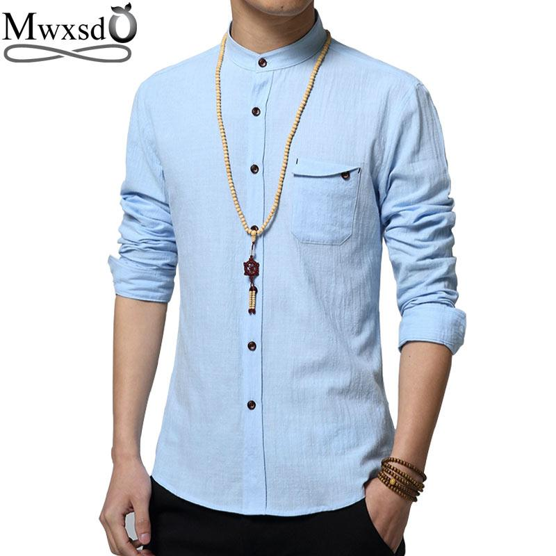 3a917505aa6 2019 Wholesale 2016 Brand Men Casual Linen Cotton Shirt Summer Mens Slim  Fit Soft Long Sleeve Shirts Chemise Homme Camisa Masculina From Cutee