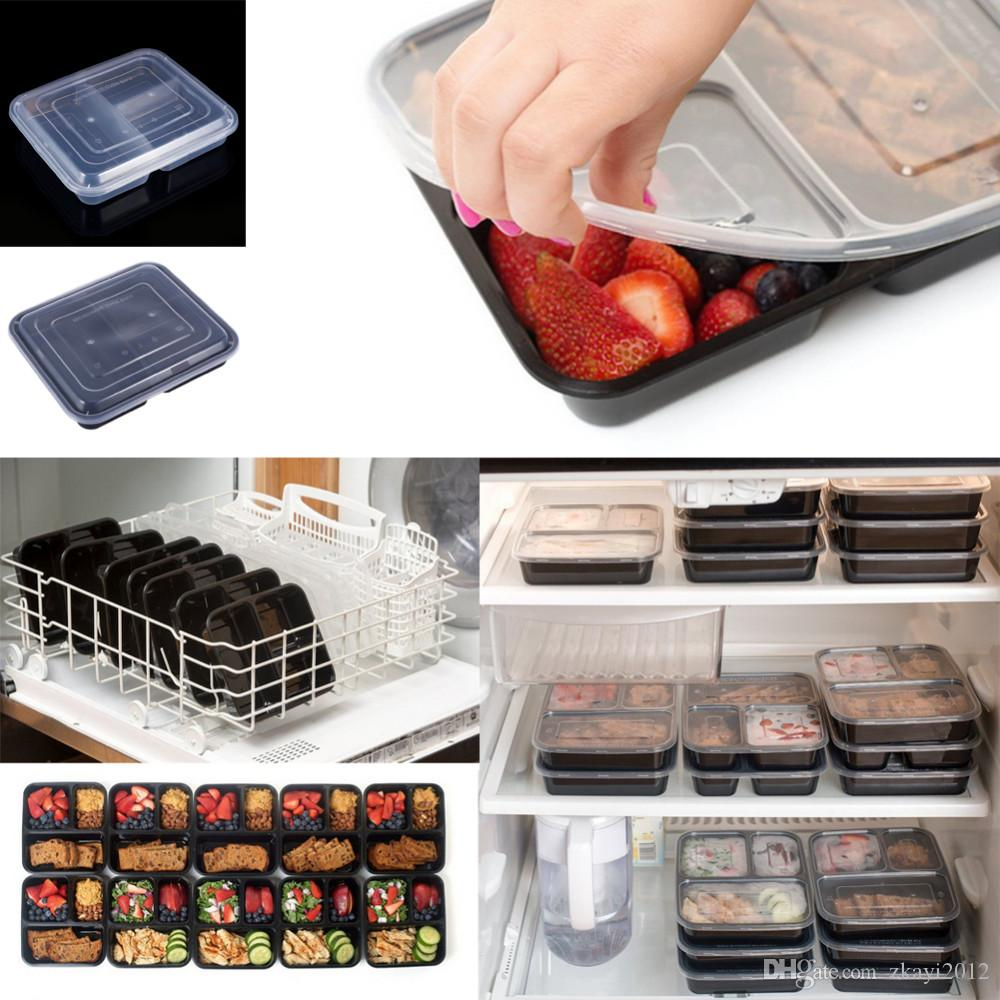 3 Compartments Food Storage Containers Lids Bento Lunch