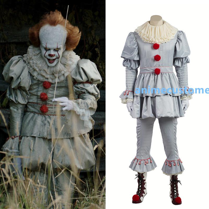 Stephen King's Pennywise Traje Cosplay Adulto Unisex Palhaço traje terno Custom made fantasia Halloween