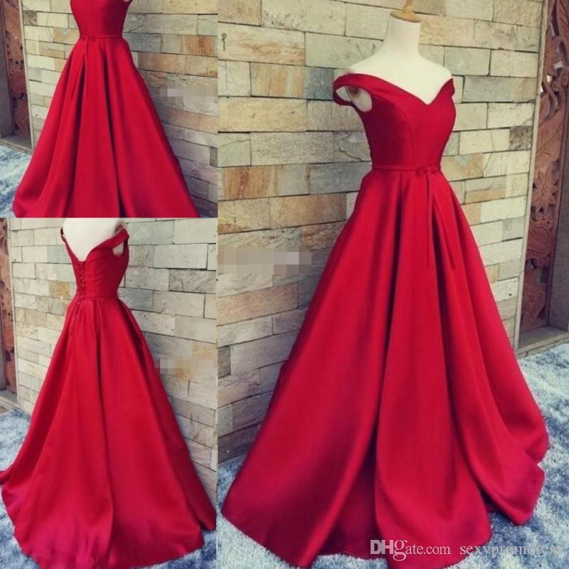 Simple Design Red Evening Gowns 2017 Satin Off Shoulder Lace Up Prom ...