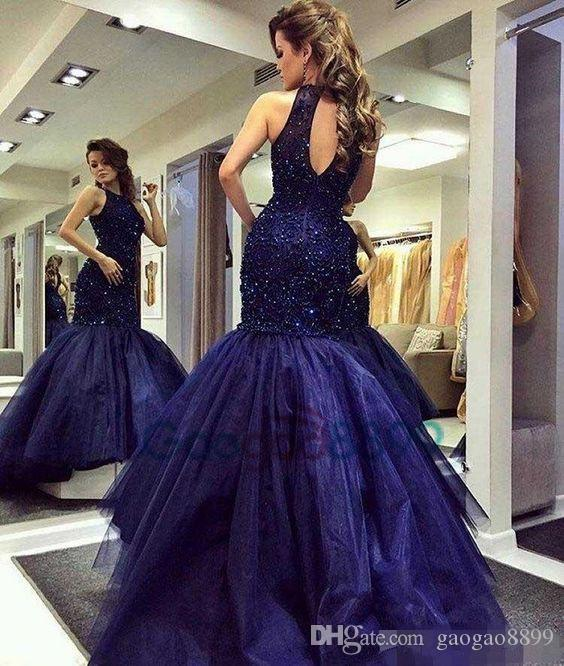 Navy Blue Evening Party Formal Wear gowns 2019 Modest Heavy Beaded Top Long Mermaid Keyhole Neck Luxury Occasion Prom Pageant Dresses