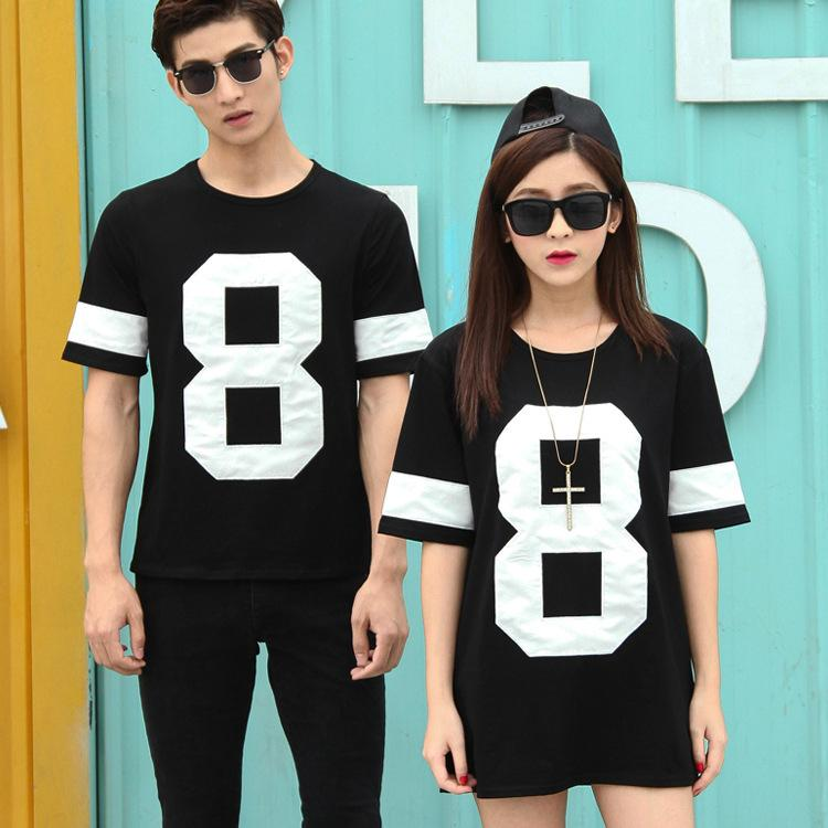 Wholesale 8 Black Sweethearts Shirts Couple T Embroidered Outfit hsQtrdC