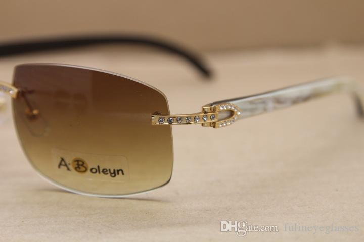 블랙 무테 선글라스 큰 다이아몬드 C 장식 남성 안경 프레임 크기 내부 도매 정품 천연 버팔로 경적 화이트 : 62-18-140mm