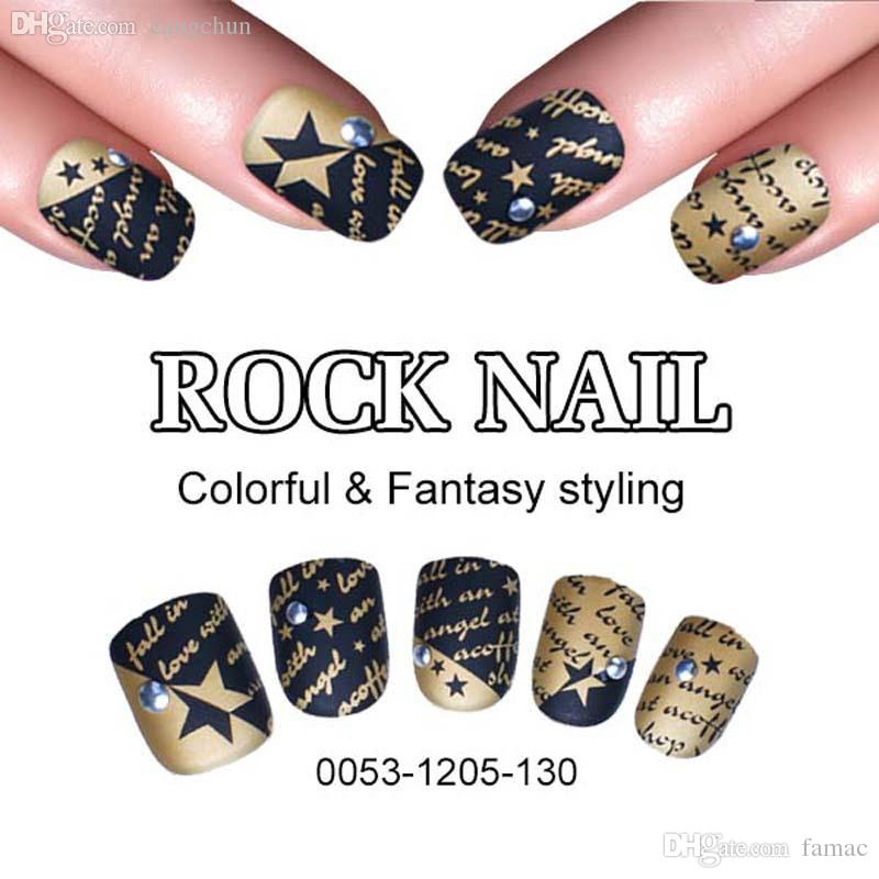 Wholesale New Fashion False Nail Art Tips Full Cover Rock Nails ...