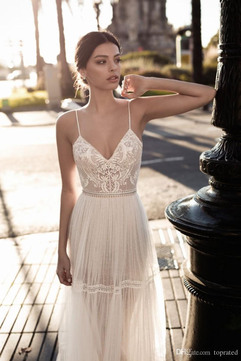New Crystal Design Sexy Backless 2019 A line Wedding Dress Spaghetti V-Neck sleeveless Appliques Collar Empire Illusion Floor-length Dresses