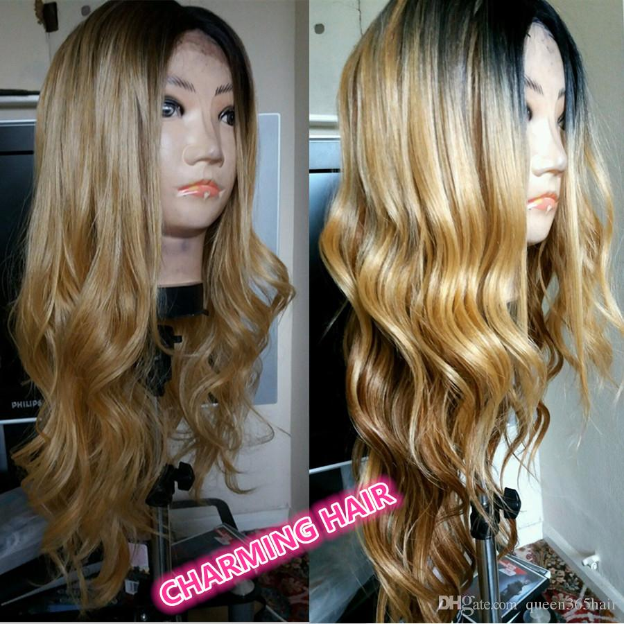 New Pre Plucked Honey Blonde Full Lace Wig Dark Root Virgin Brazilian Body Wave Lace Front Wig Two Tone Ombre Human Hair Wigs