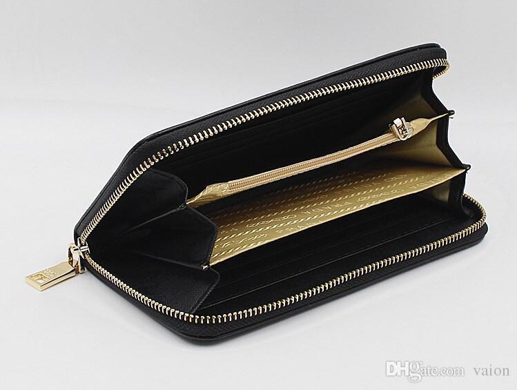Chegada nova Moda Marca Designer Mulheres Dobrar Carteira Embreagem Bolsas Saffiano saco longo cartão carteira GG30