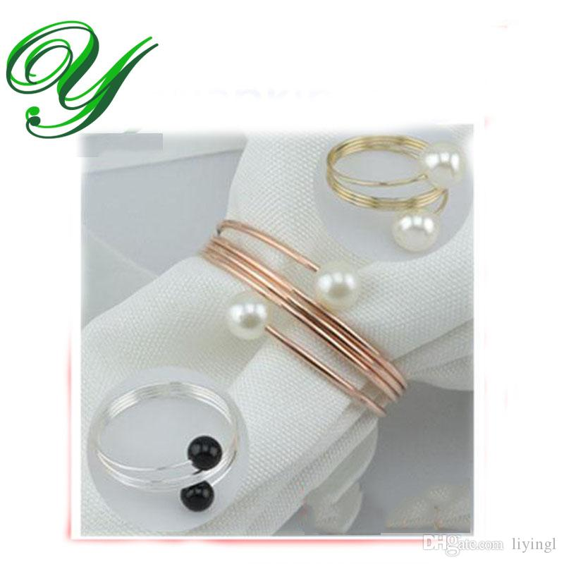pearl napkin rings wedding napkin rings gold silver holder christmas decoration holiday dinnerware copper alloy ring for napkin napkin paper rings napkin - Wedding Napkin Rings