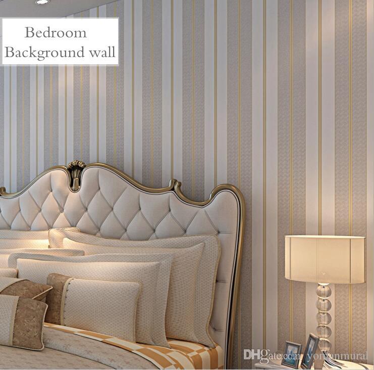 Grosshandel Gemutliche Schlafzimmer Vliestapeten 5 Farben Striped
