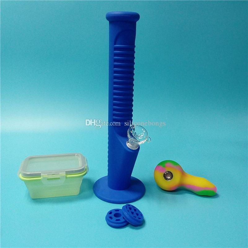 Blue Silicone Water Pipes with Colorful Mini Silicone Bongs with Big Silicone Wax Containers