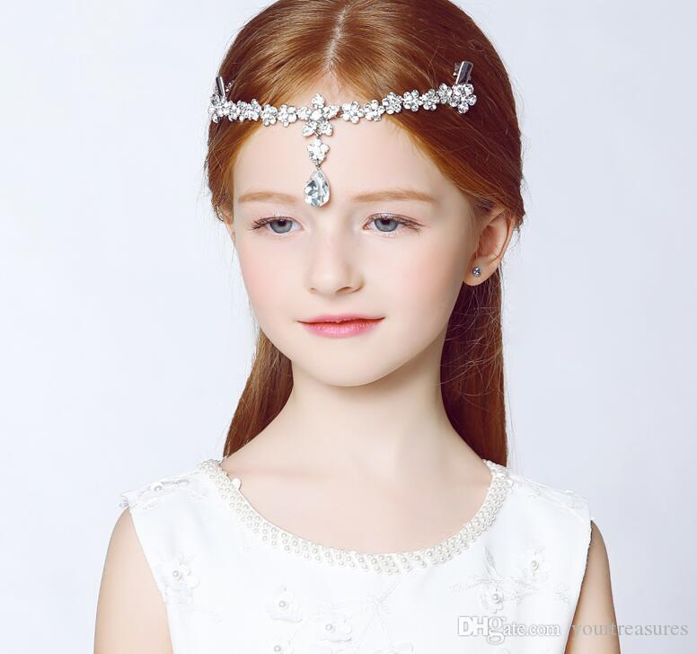 Clear Crystal Princess forehead chain between the brows Headbands hair band children Hair Accessories Wedding Kids Jewelry 2017