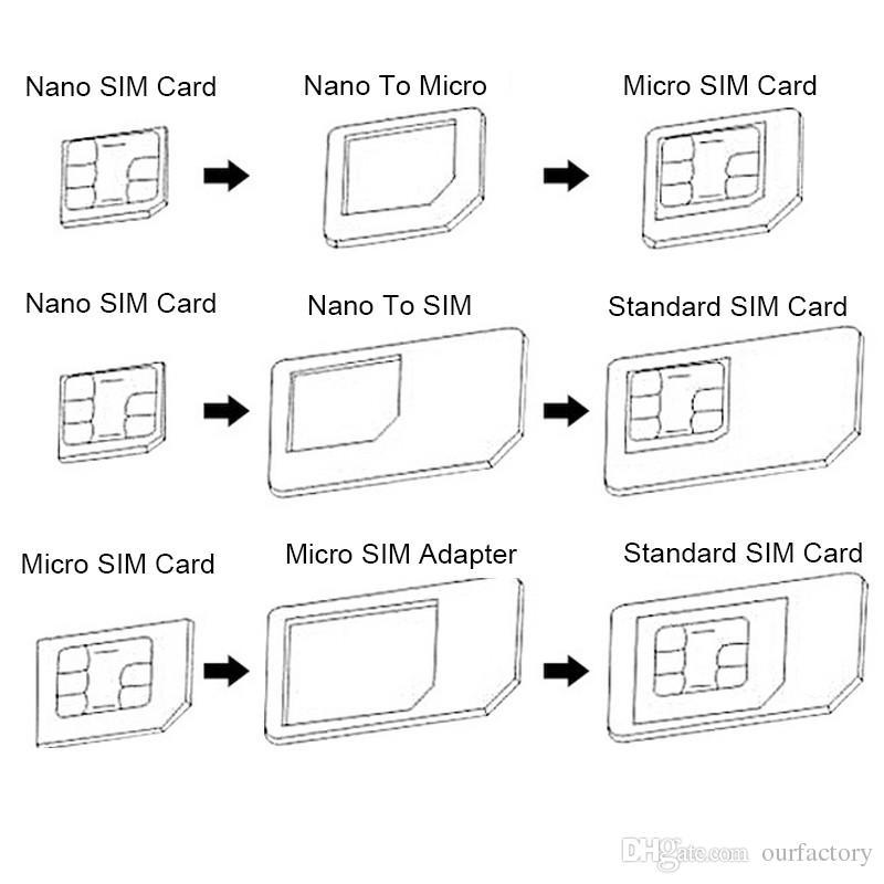 5 in 1 Nano Sim Card Adapters + Regular Micro Sim Card Tools For iPhone 4s 5 5c 5s 6s 7 Retail Box 300ps /