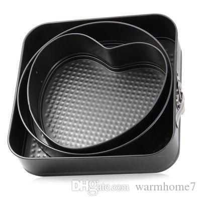 3 مجموعات غير عصا سبرينغفورم المقالي كعكة خبز القالب خبز جولة القلب شكل مربع اكسسوارات المطبخ أدوات الخبز ملحوظة