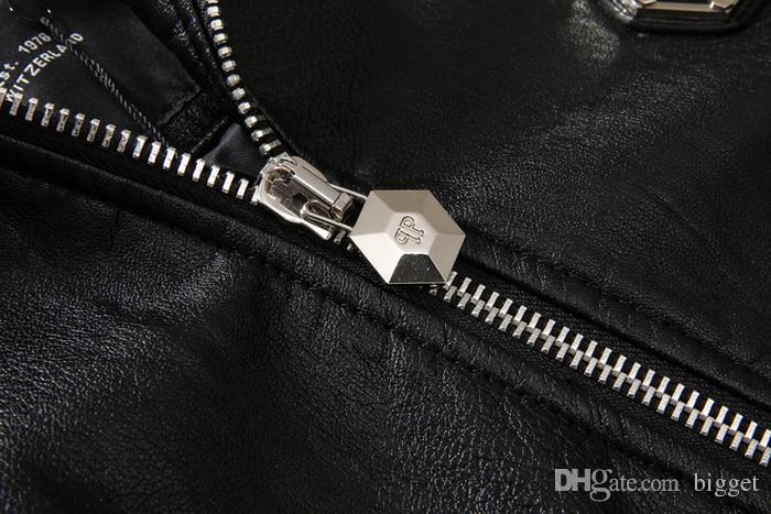 مقنعين معطف جلد جديد رجل صالح سليم هود السائق سترة جلدية بلايز رجل 78 تصحيح المعدنية
