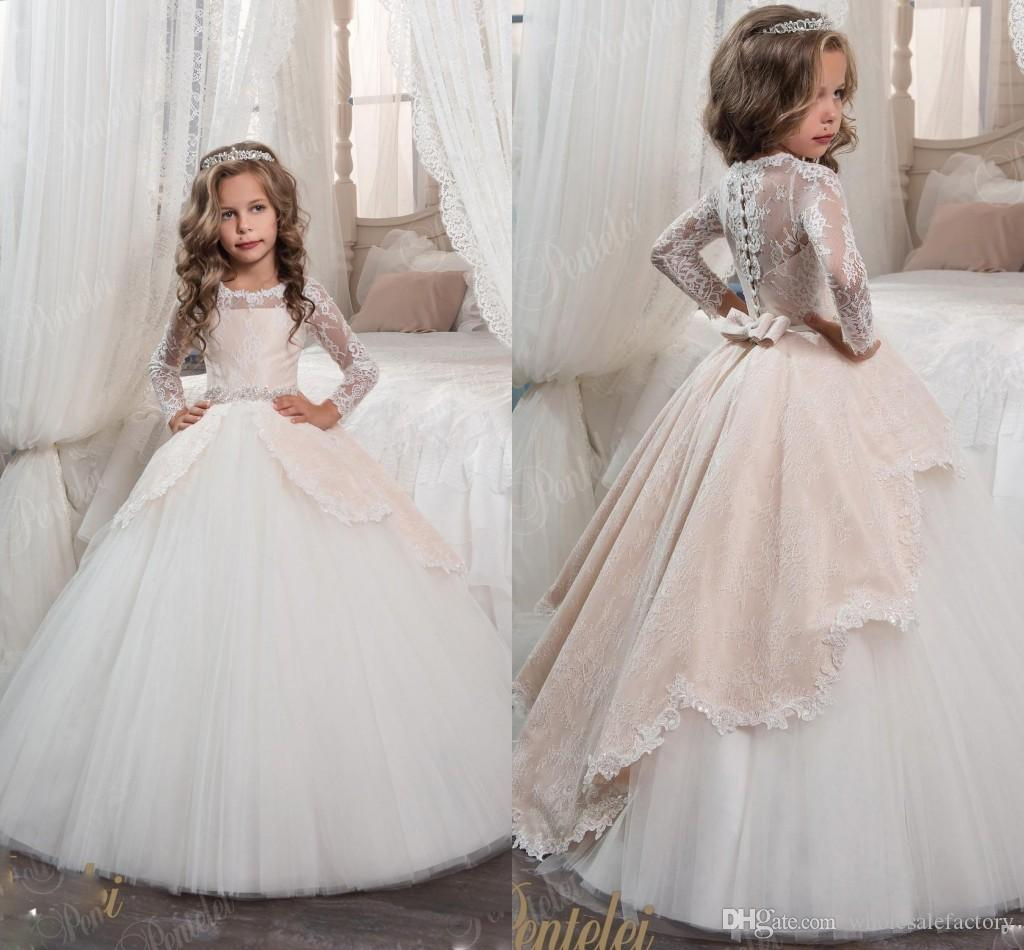 e500c371e089e Lace Tulle Flower Girl Dresses Long Sleeves Sheer Jewel Neck Princess First  Communion Dresses Little Girls Ball Gown Party Dresses Baby Girls Dresses  Bridal ...