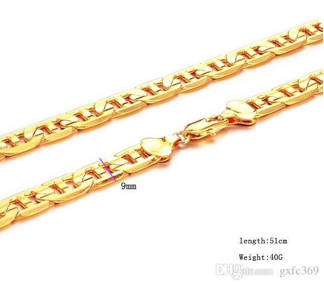 18 k gold jewelry necklace, do not fade for a long time and bawang men's G necklace of gold