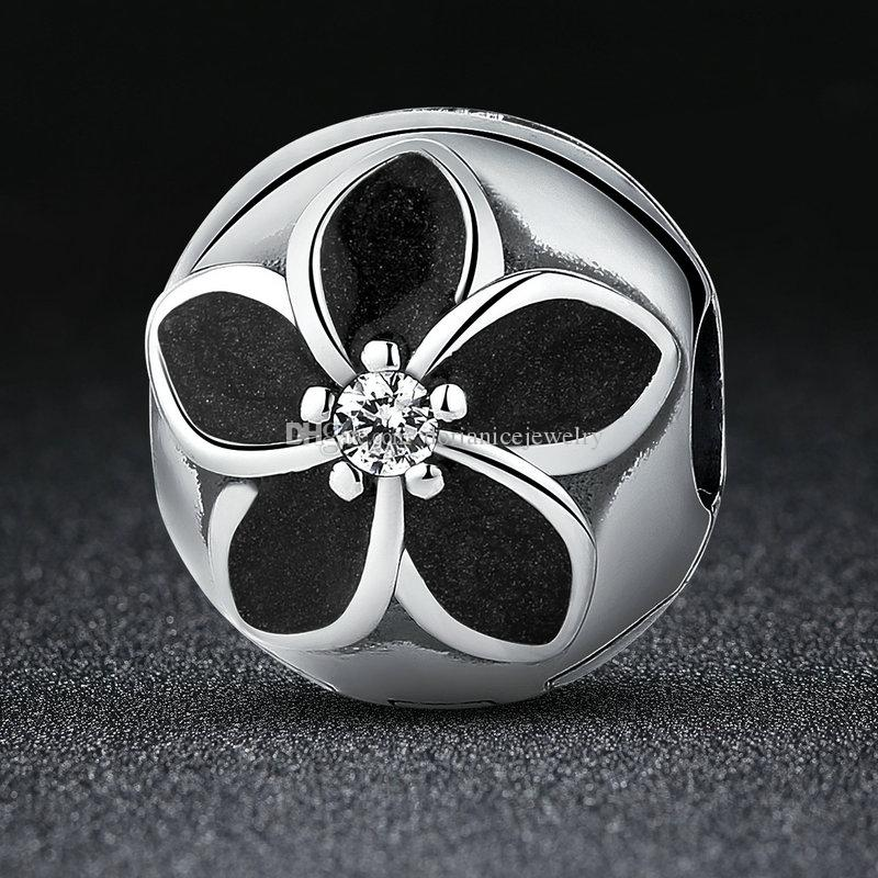cf0adcccd 2019 925 Sterling Silver Mystic Floral Clips With Clear CZ & Black Enamel  Flower Beads Charms For DIY Beaded Bangle Bracelets S432 From  Dorianicejewelry, ...